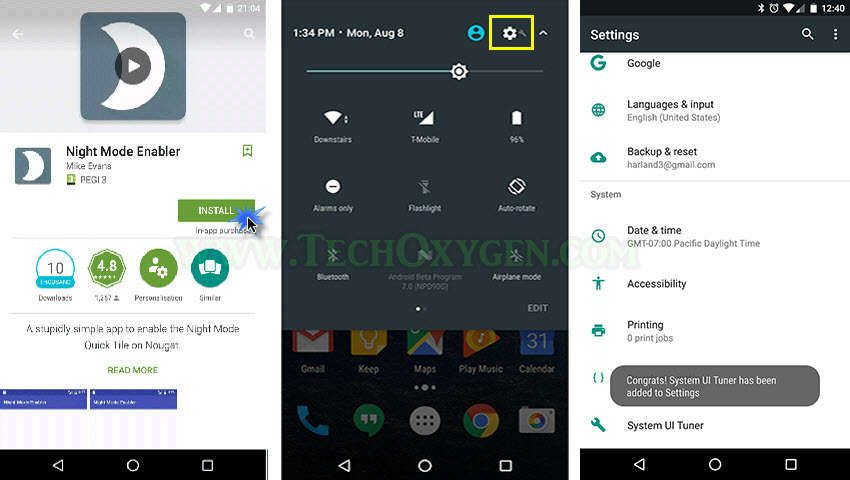 How to enable the hidden Night Mode Setting in Android