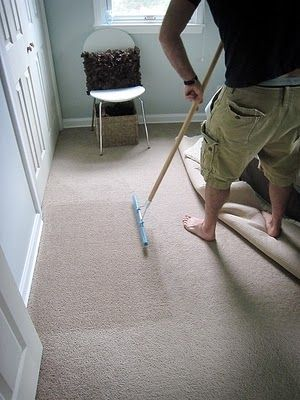 Use a carpet rake to restore matted  high traffic carpets to their     Use a carpet rake to restore matted  high traffic carpets to their former  glory