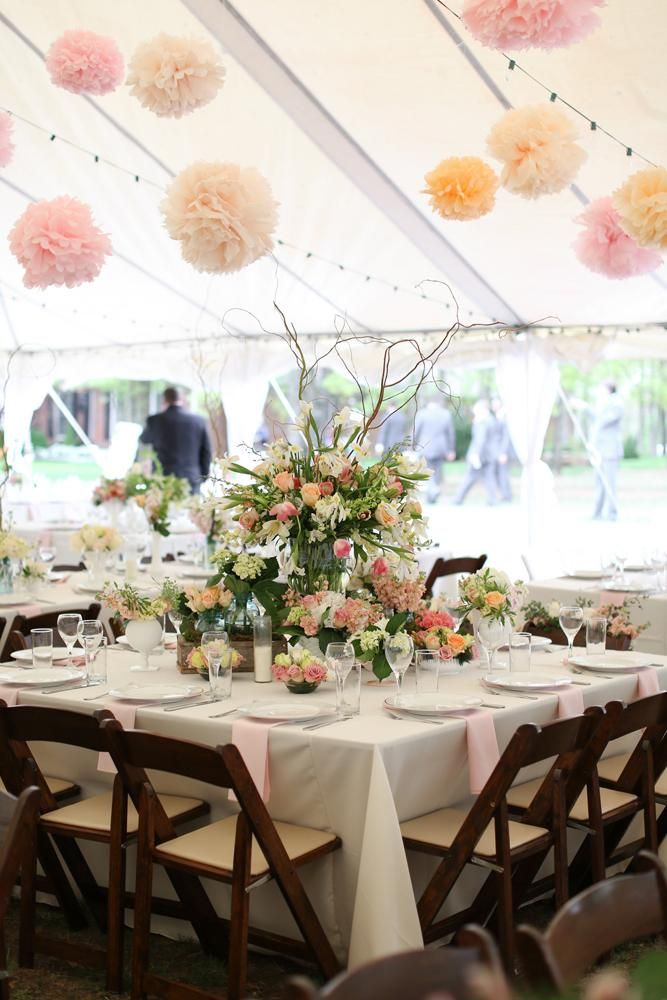 Beautiful spring tablescape by Blueberry Hill Events. Rentals from Party Pro Rents. Photo by Aaron Snow Photography. #wedding #table #decor #spring #pink #peach #blush #orange