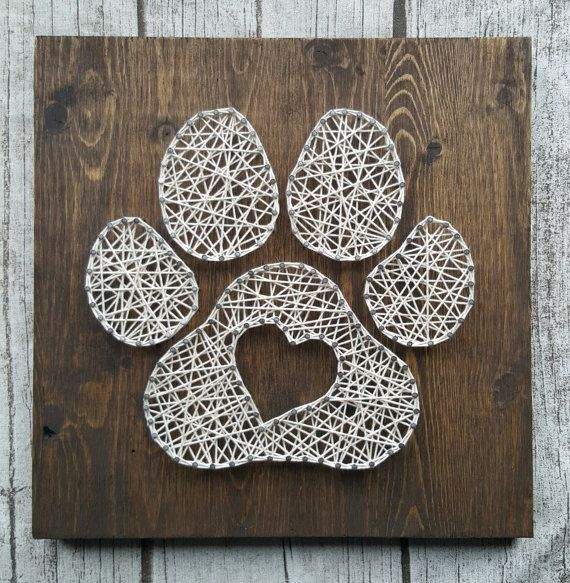 Paw Print Heart String Art Hanger Pine And Lovers