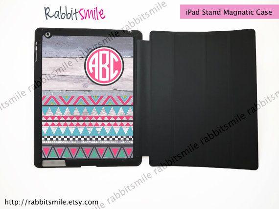 Monogrammed iPad Case / Aztec Wood Personalized iPad 4 Case / Monogram iPad 2 / New iPad 3 Smart Cover / Flip Case / Magnetic Smart Case on Etsy, £24.92