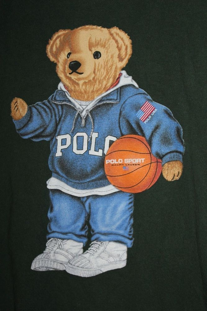c8f5298a2b5 Polo Bear T Shirt Ralph Lauren Teddy Green Basketball USA Sport Mens Medium   PoloRalphLauren  GraphicTee