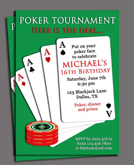 Poker Invitation Printable Customized To Your By Thatpartychick