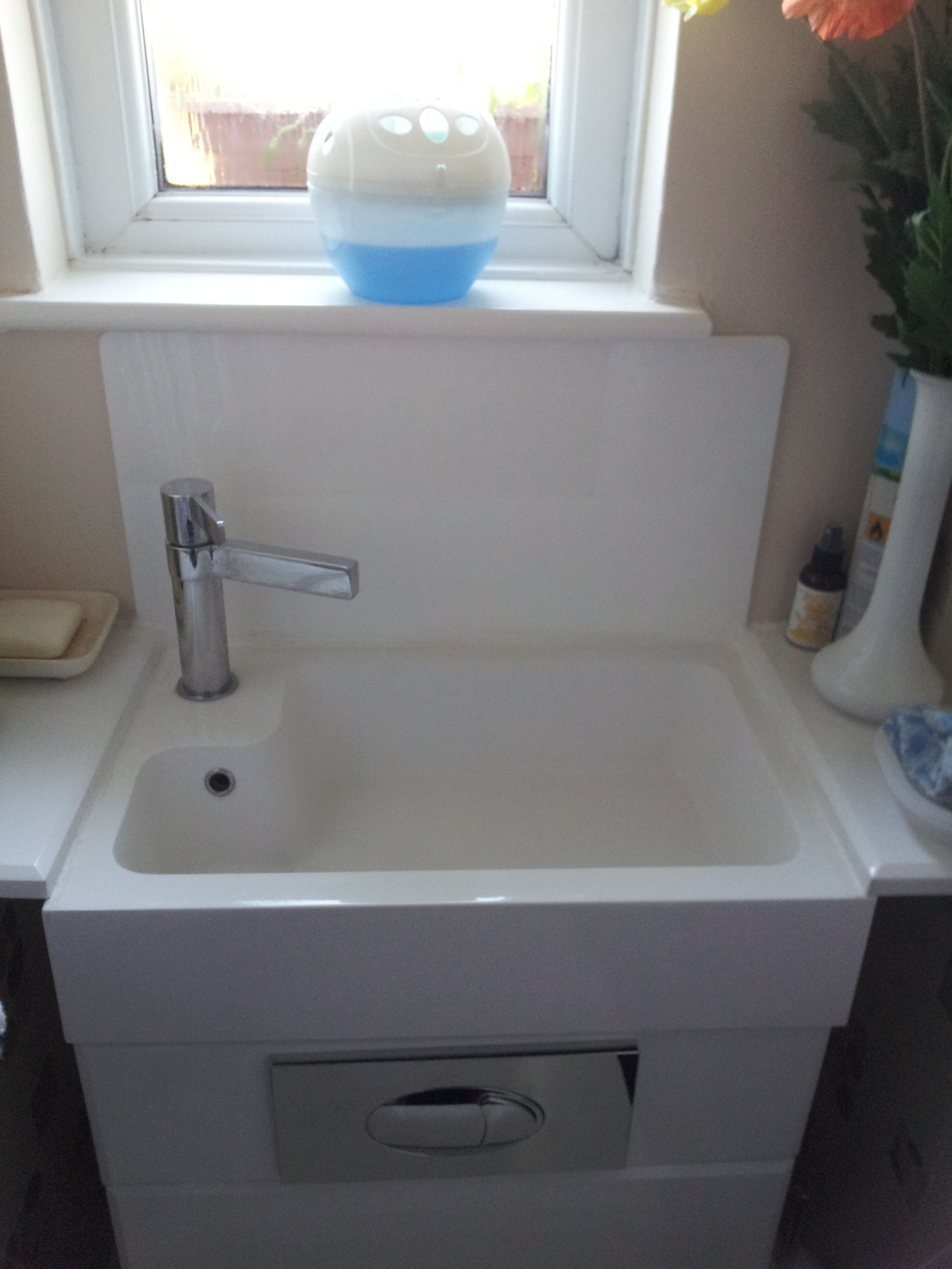 A Small Piece Of White Acrylic Makes A Perfect Splashback For A Small Sink  Area