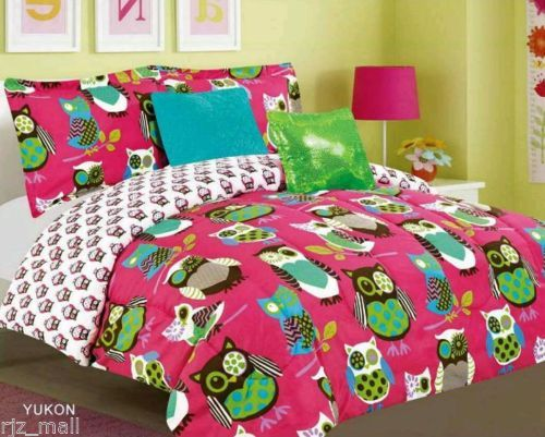 Tween Teen Bedding Pink With Owl Bed In A Bag Comforter