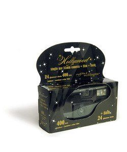 Hollywood Design Single Use Camera Style 8672 by David's Bridal. $20.48. Capture the special moments that are often missed by adding this camera to your festivities. Entice guests to snap photos of the celebration by grouping them on a table or alongside each centerpiece. Features and Facts: Single use 35mm camera includes flash, indoor film and 24 exposures. Color Film. Camera Design is black with white stars.