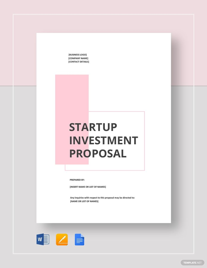 Startup Investment Proposal Template Proposal Templates Paper Template Design Business Proposal Template