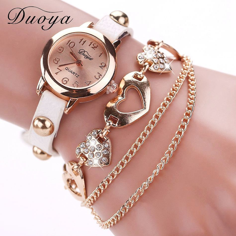 Duoya watches women brand gold heart luxury leather wristwatches