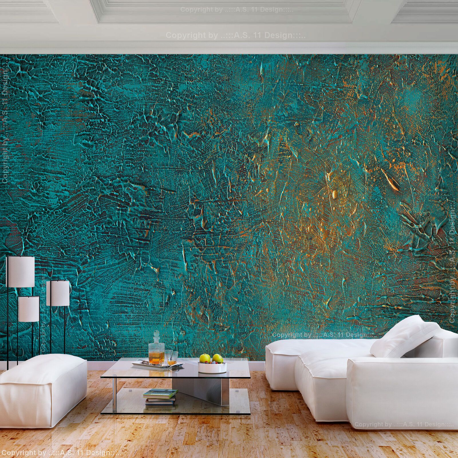 Non Woven PHOTO WALLPAPER Rust Green Metal Wall 3D Effect