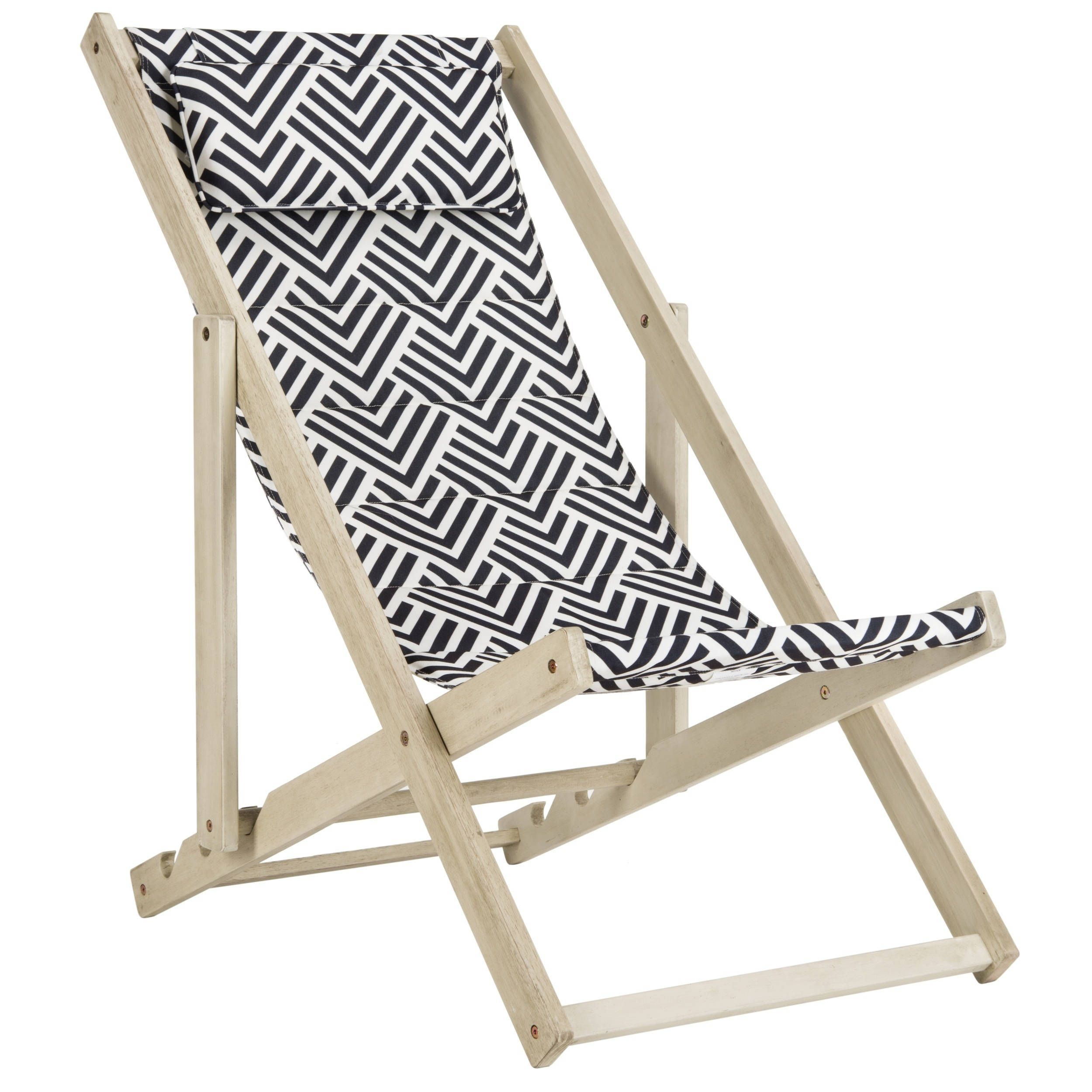 Safavieh Rive White Wash Navy Foldable Sling Chair Pat7039a Blue