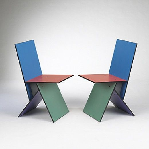VERNER PANTON Vilbert chairs, pair Ikea Sweden, 1994 Melamine coated MDF 16 w x 21 d x 33 h inches