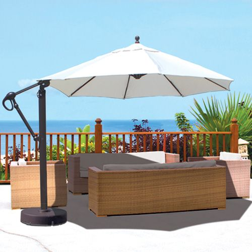 Bali Pro 10 Square Rotating Cantilever Umbrella With Lights Offset Umbrella Patio Umbrellas Patio