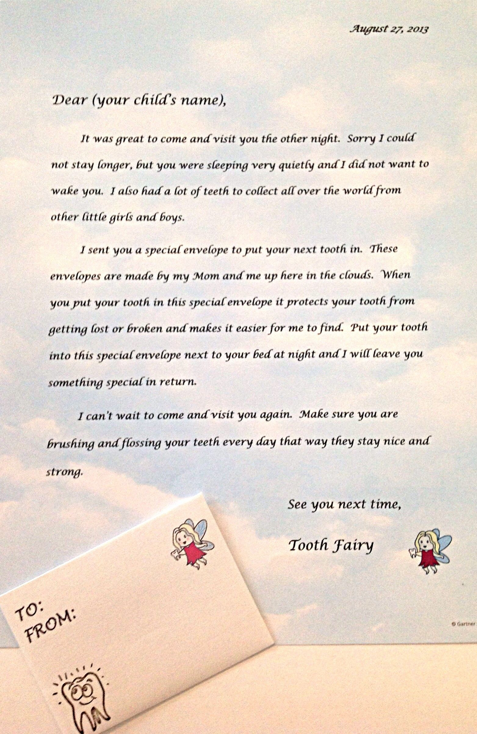 Letter mailed to your child from the tooth fairy