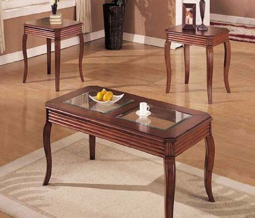 Best 3Pc Coffee Table End Table Set Dark Oak Finish By Acme 640 x 480