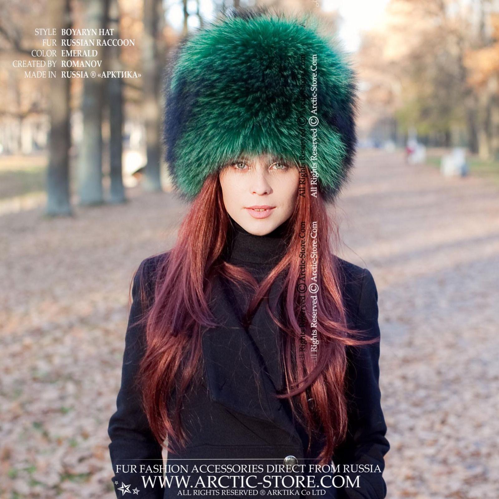 Boyaryn Luxe Emerald Raccoon 90s Womens Fashion Hip Hop Hats Fur Fashion