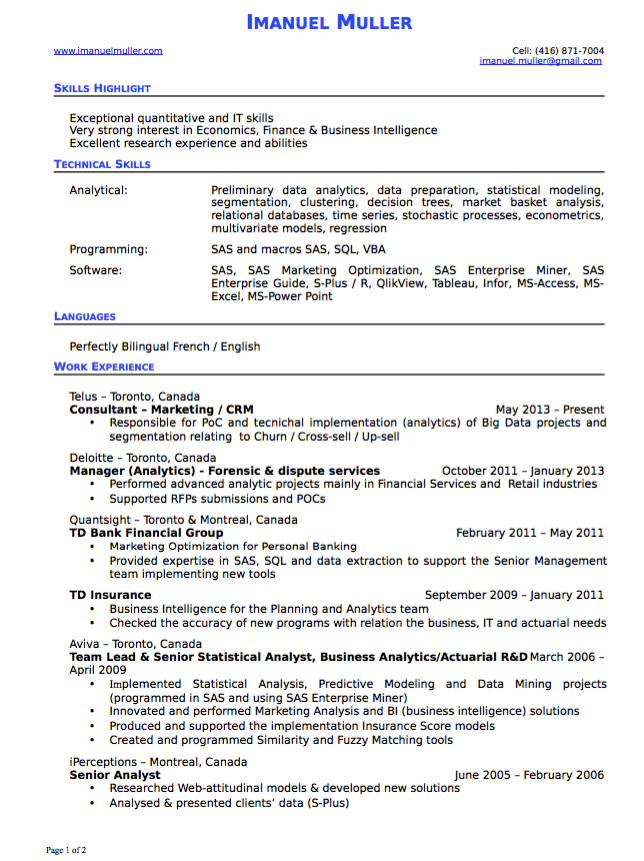 Business Intelligence Resume Example
