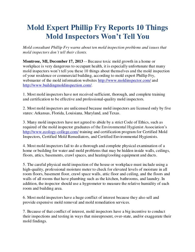Mold Consultant Phillip Fry Warns About Ten Mold Inspection Problems