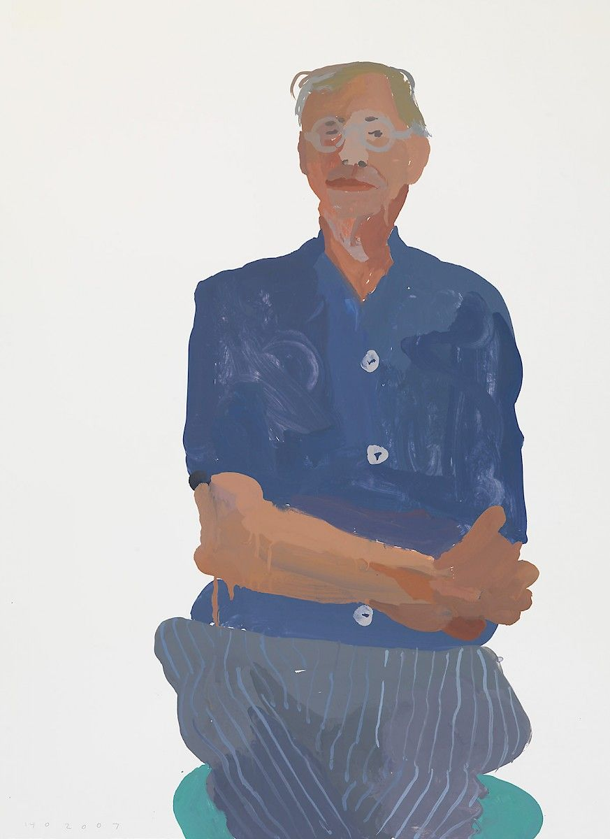 'Nick' (2007) by British painter Humphrey Ocean (b.1951). Gouache on paper, 76.7 x 56 cm. ty, a long time alone. via the artist's site