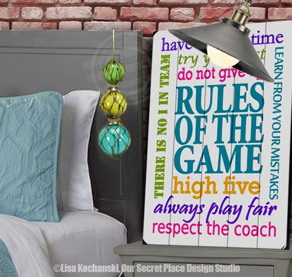 Rules of the Game Planked Wood Sign Girls Sports Decor Girls Room ...