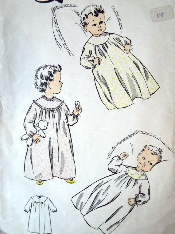 Vintage 1950s British Le Roy Sewing Pattern A Yoked Night Dress With