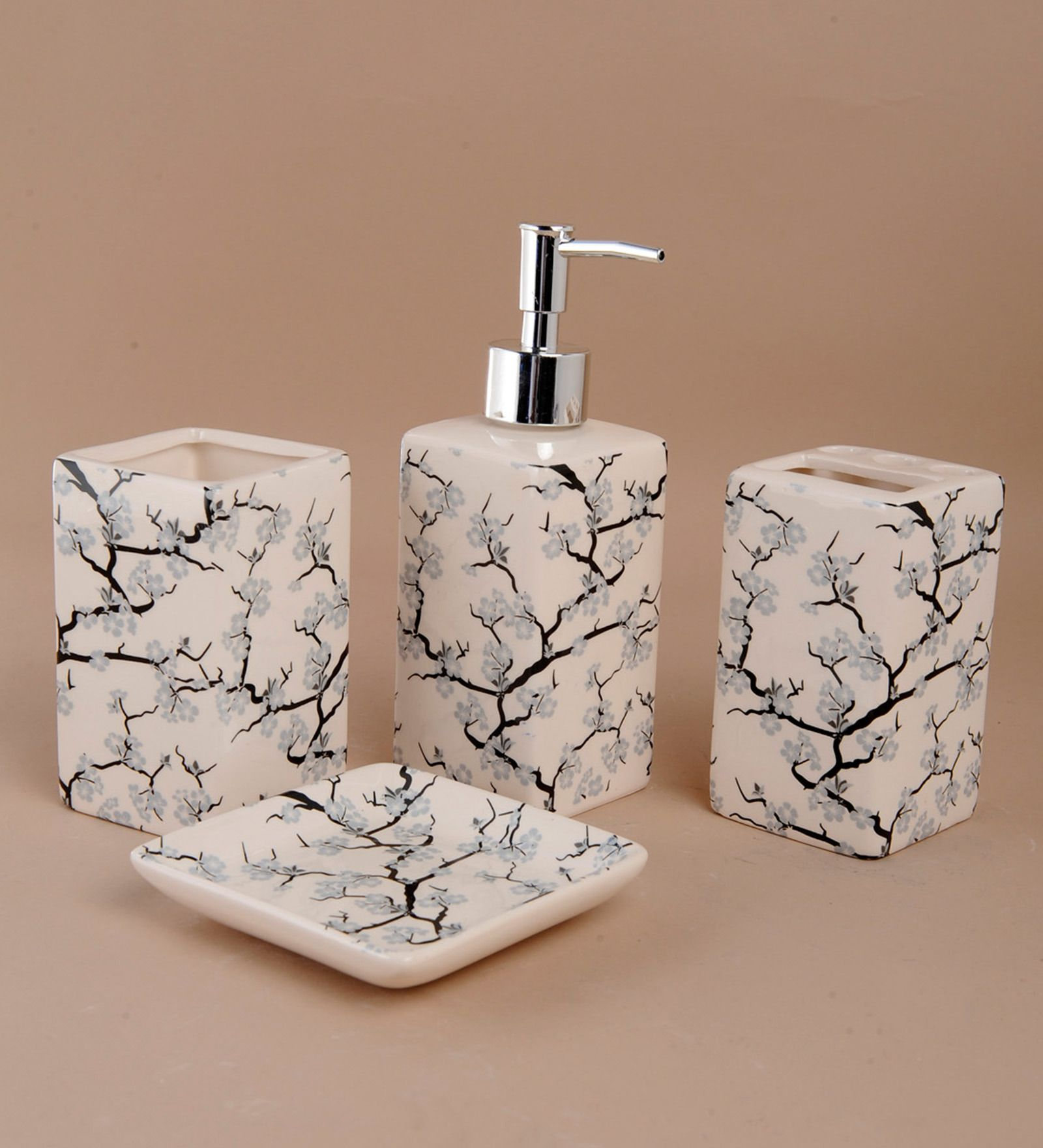 Buy Go Hooked Cream Ceramic Bathroom Set Online   Accessories Sets   Bathroom  Accessories   Pepperfry
