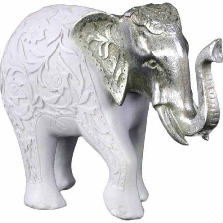 Urban Trends Collection: Polyresin Elephant Figurine, Matte Finish, White