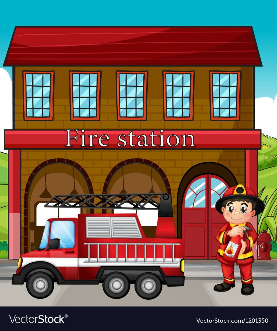 A Fireman With A Fire Truck In A Fire Station Vector Image On Vectorstock Fire Trucks Fire Station Volunteer Firefighter