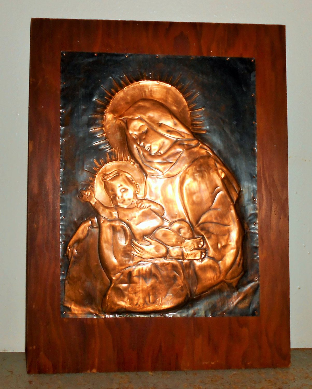 Vintage Wall Plaque Mother Mary Baby Jesus Copper Virgin Mary Religious Wall Decor Copper Art Metal Wall Art Religious Home Decor & Vintage Wall Plaque Mother Mary Baby Jesus Copper Virgin Mary ...