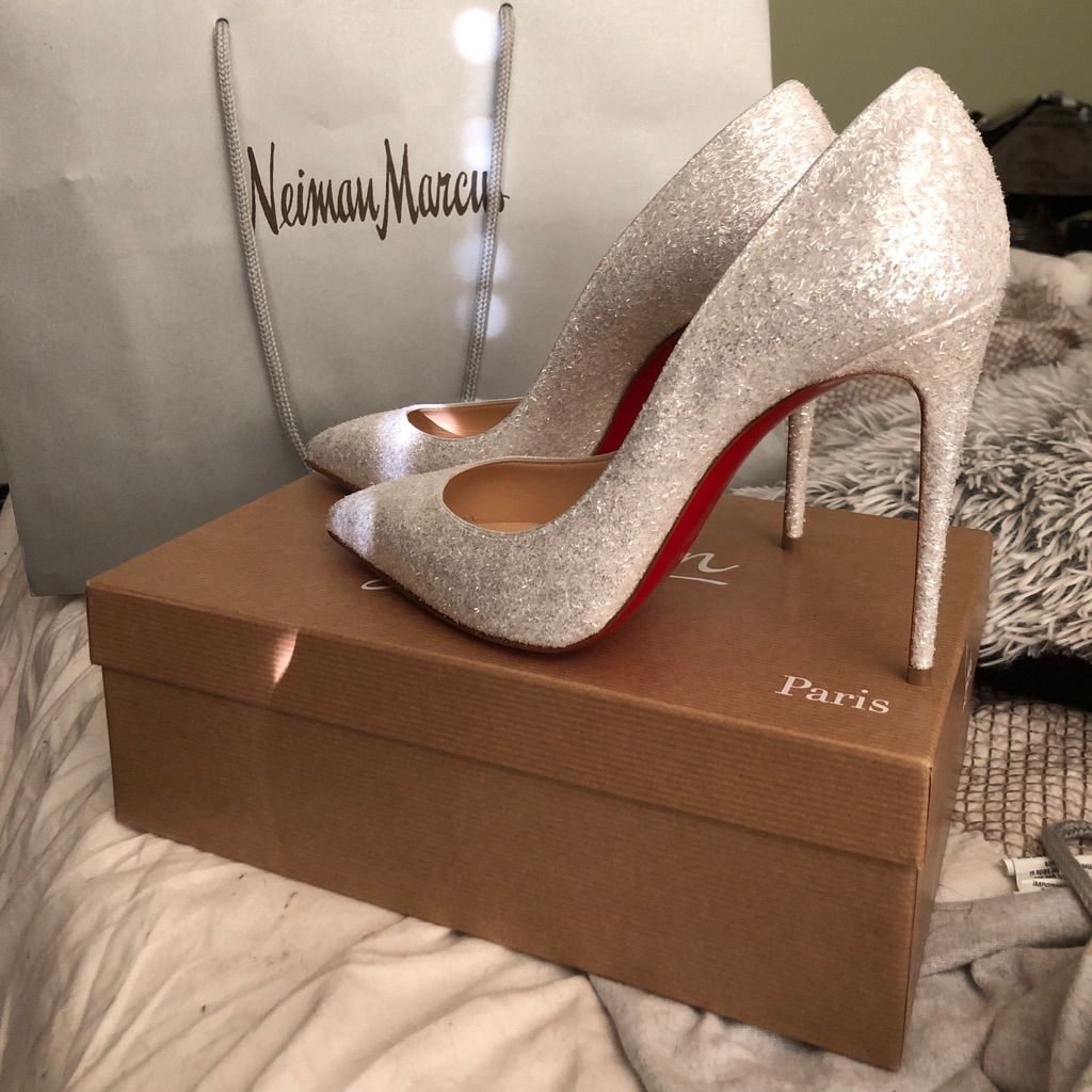Christian Louboutin Pigalle Follies 100 Glitter Wh Christian Louboutin Pigalle Louis Vuitton Shoes Heels Christian Louboutin Shoes