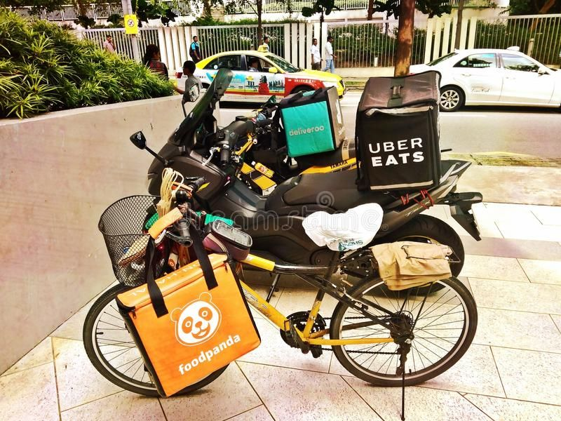 Food Delivery Bikes Bicycle And Motorcycles Representing Food