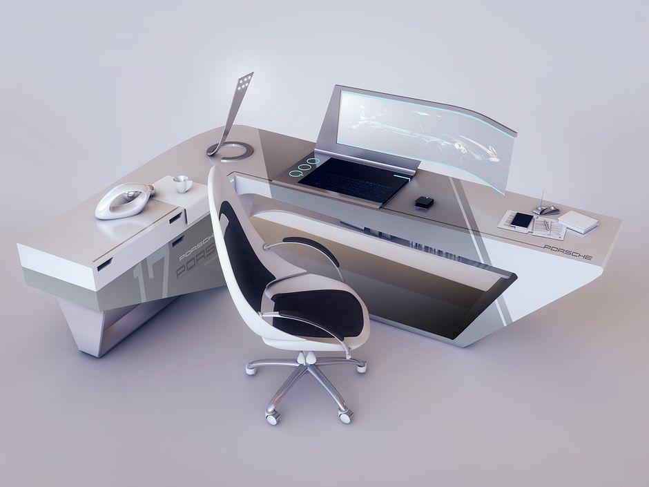 Modern Desk Design By Encho Enchev Sci Fi 3d Cgsociety Design De Escritorio Moderno Secretaria Moderna Mesa De Design