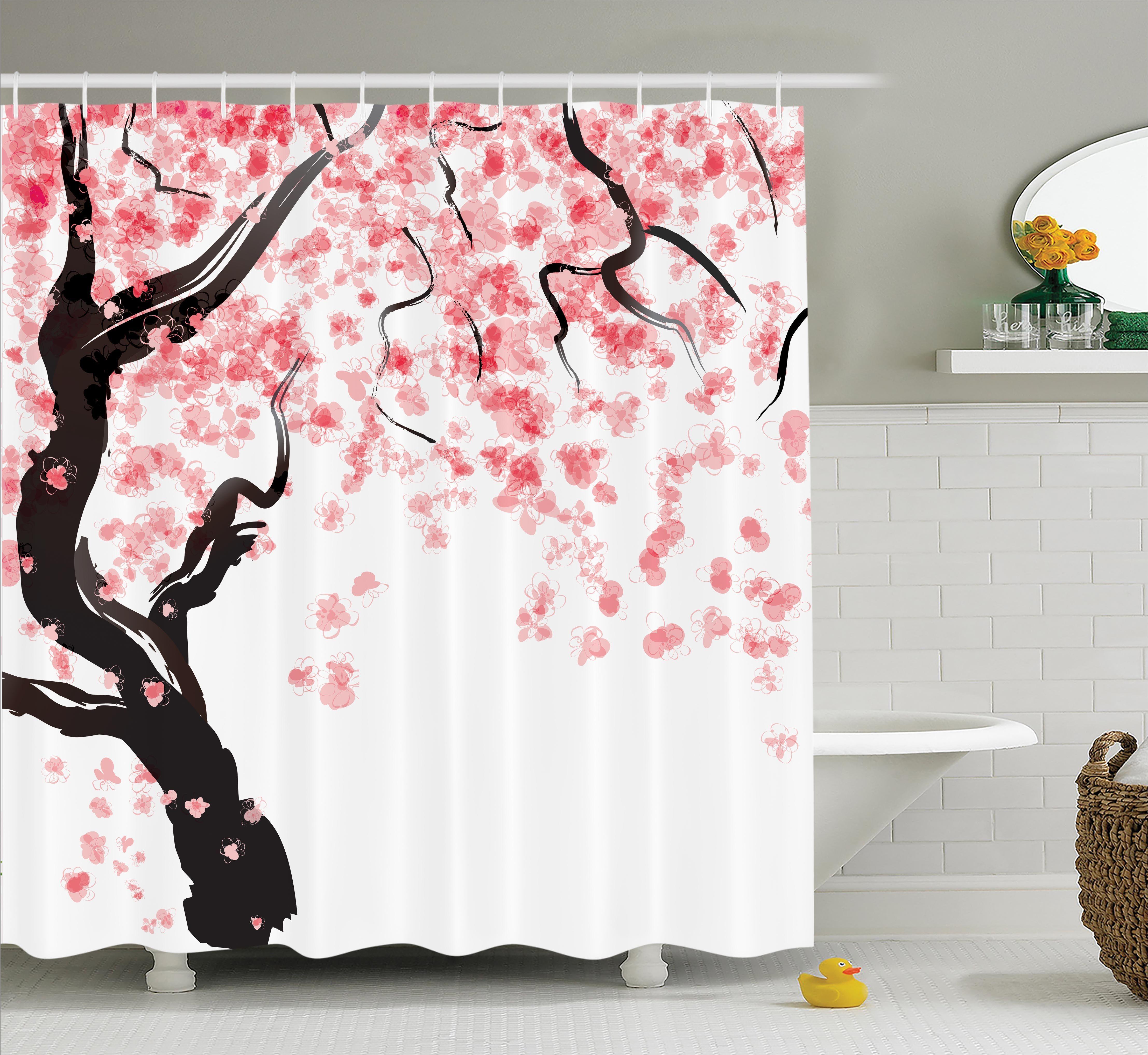 Japanese Decor Shower Curtain Set Japanese Cherry Tree Blossom In