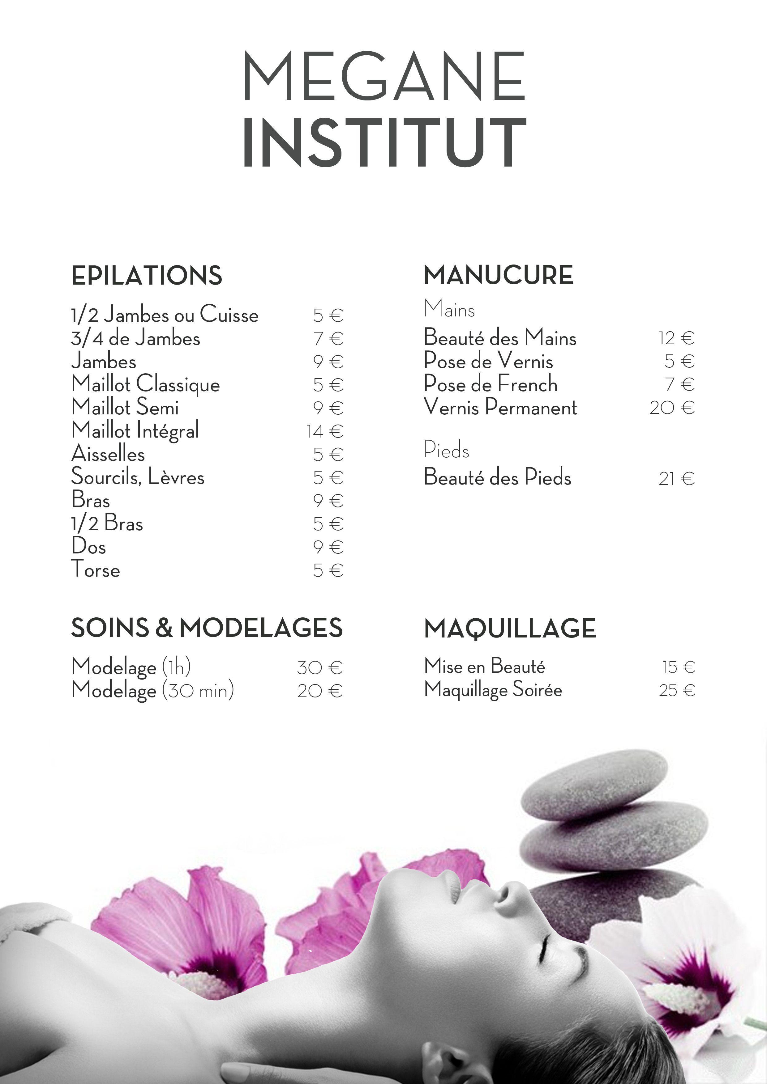 Plaquette tarifs Institut de Beauté esprit Zen un brin