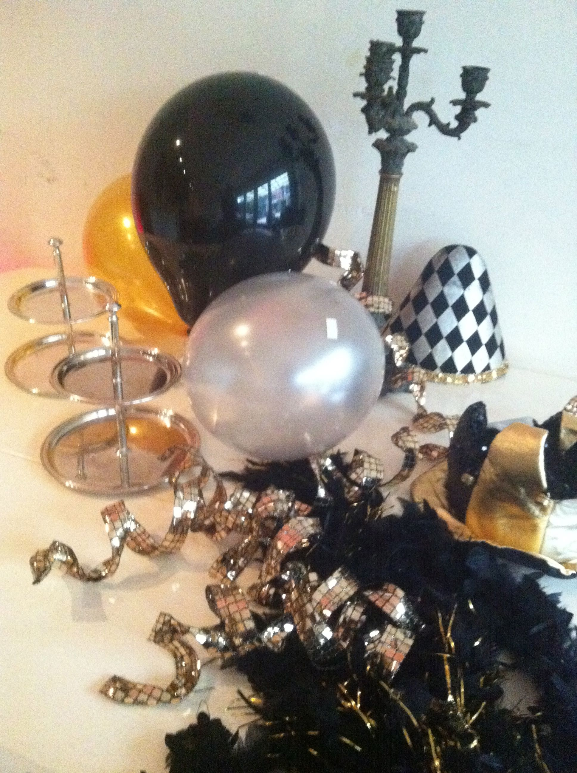 Gold Silver And Black Party Decoration Gold Birthday Decorations Black And White Party Decorations White Party Decorations