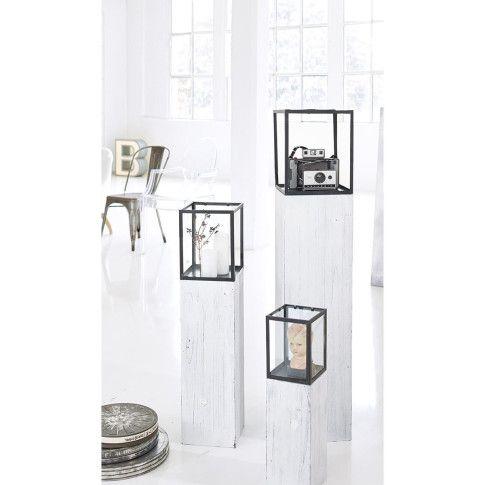 Windlichtsäule, Holzsockel Mit Glas /Metallaufsatz, Industrial Chic  Katalogbild