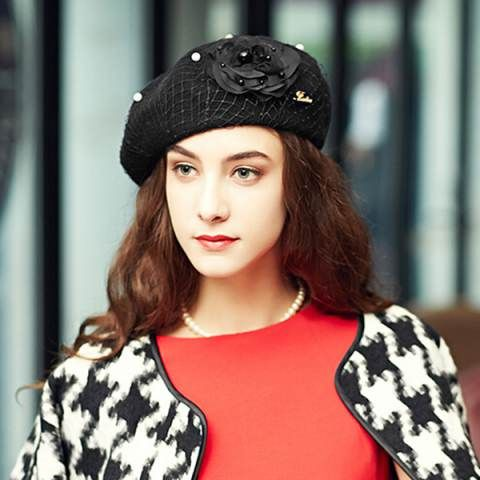 4b1979884db6c Flower beret hat for women mesh pearl decoration