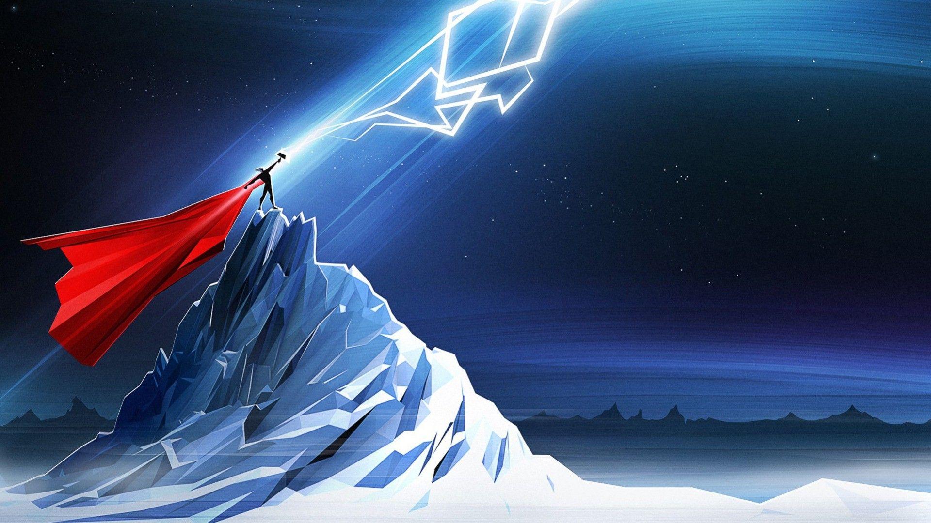 Thor Mjolnir Lightning Simple Marvel Comics Wallpapers Hd
