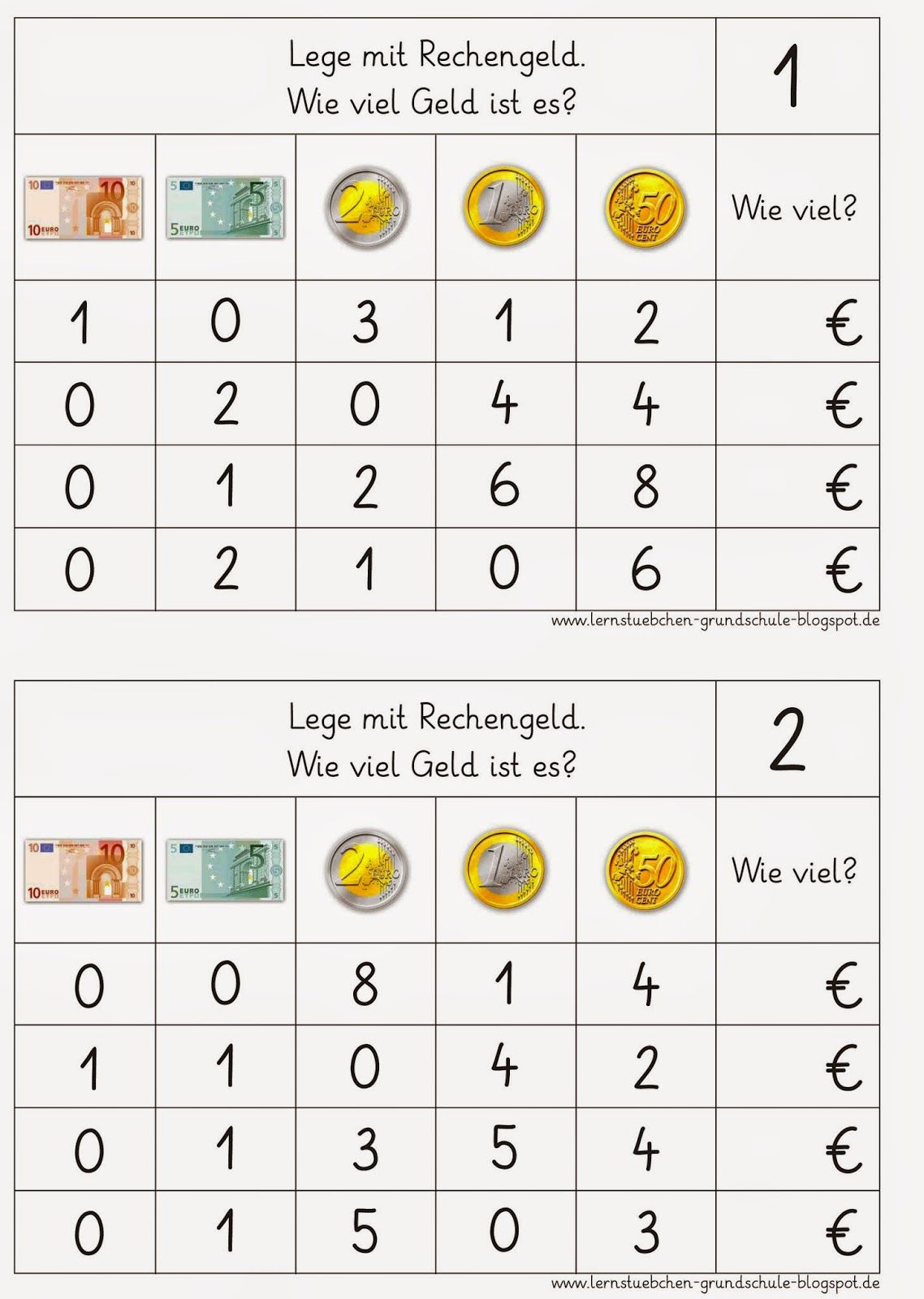 Lernstübchen: MA 1-4 Geld | Mathe 2. Klasse | Pinterest | Mathe ...
