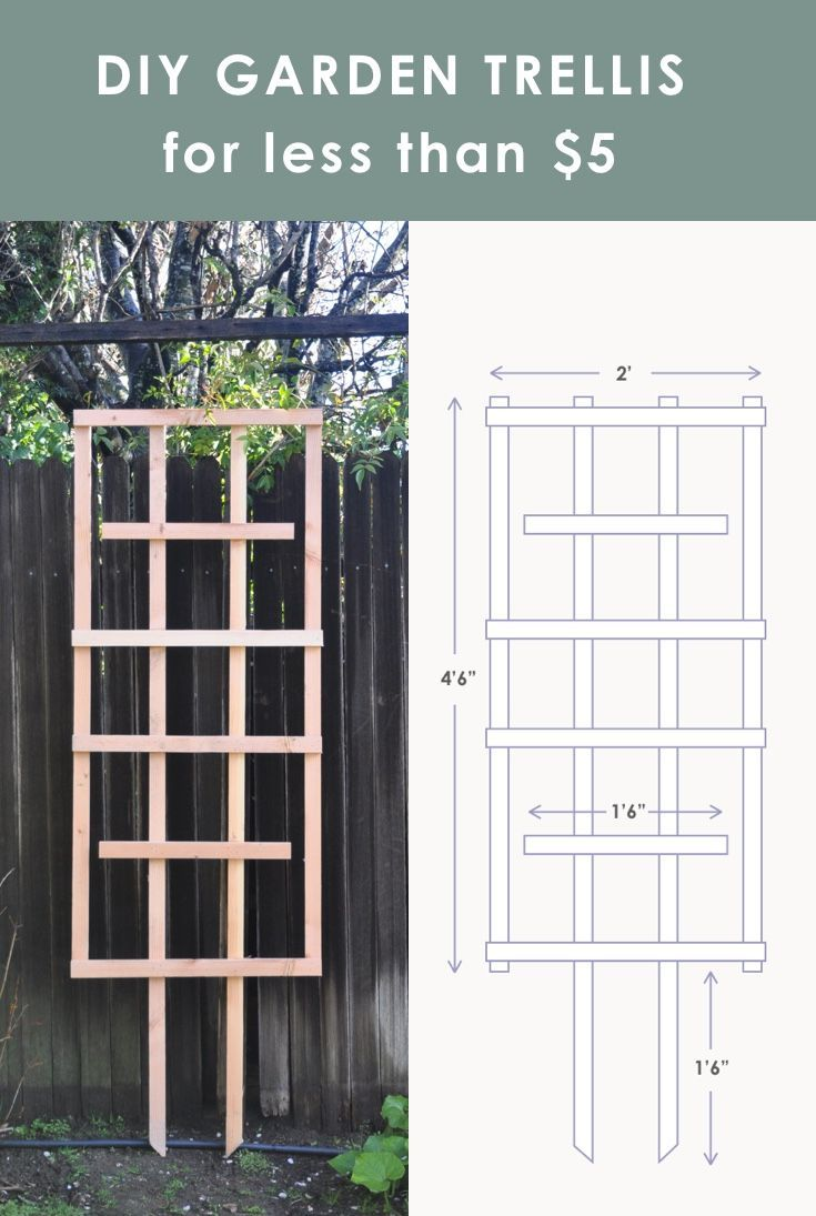 Ready to tackle some easy outdoor DIY projects? Learn how to DIY trellis for your garden in three easy steps. The material is cheap – costs less than $5! Plus you can customize the size to fit your specific gardening needs. #diygardenideas