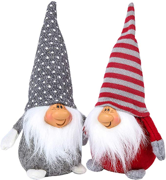 LABOTA 2Pcs Christmas Gnome Plush Handmade Swedish Tomte Christmas Decoration Kids Birthday Present Home Ornaments Tabletop Santa Figurines Grey - 11 Inches