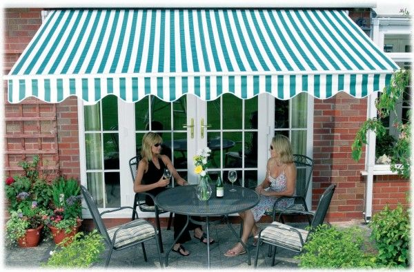 Aleko 12 10 Feet Retractable Patio Awning Green White Strap 3 5m X 3m 369 00 Patio Awning Awning Patio
