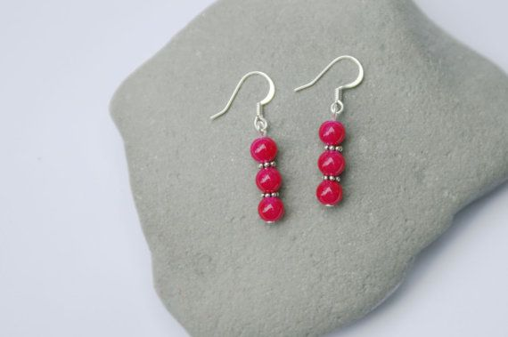Hot Pink Glass Bead Dangle Earrings