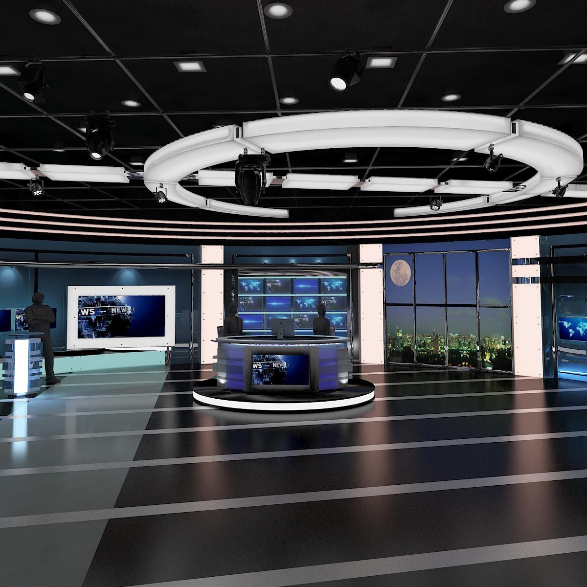 3d model tv virtual stage news room studio 027 fbx obj for 3d studio max