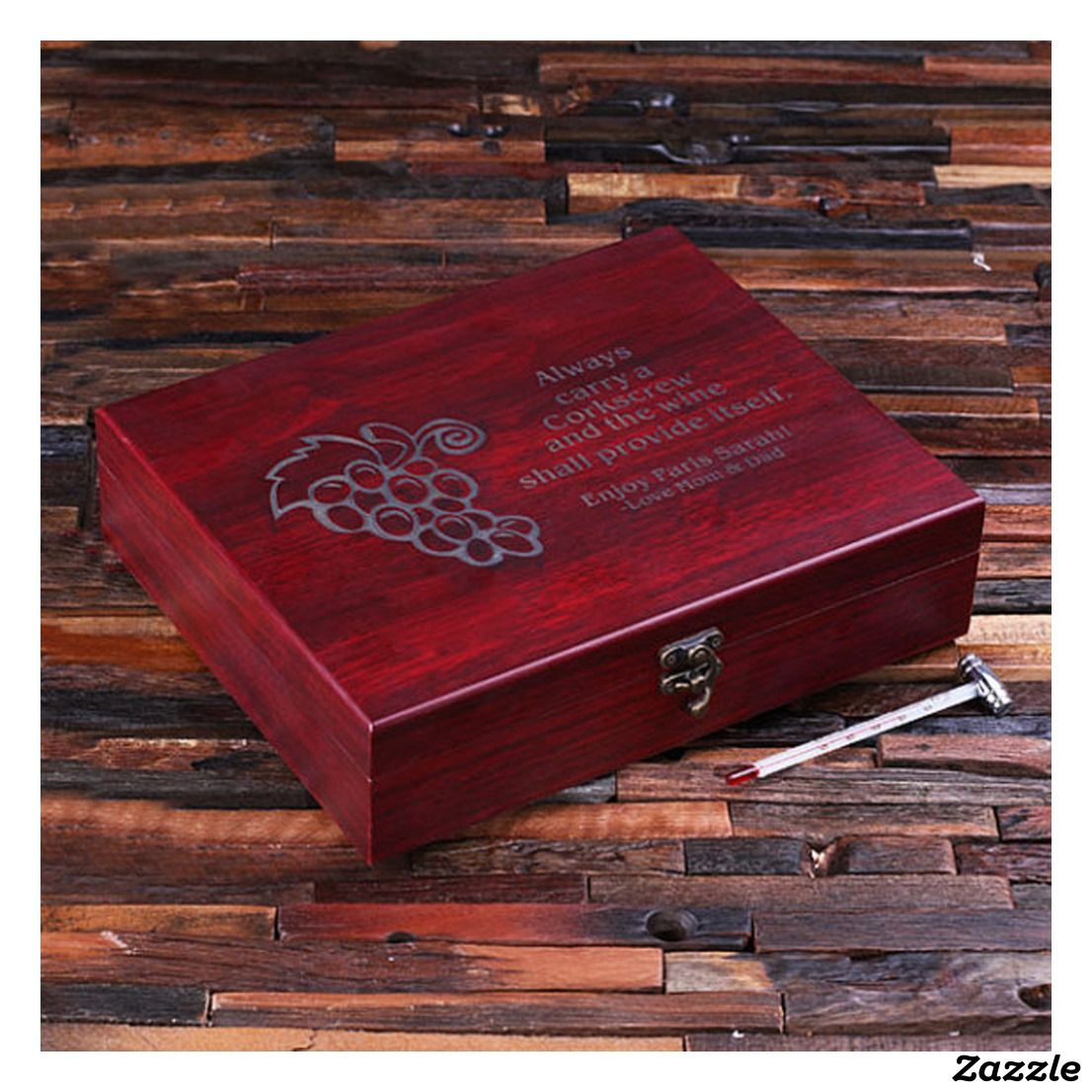 Personalized 7pc Wine Accessories Tool Kit Zazzle Com Personalized Keepsake Box Personalised Wooden Box Wine Accessories