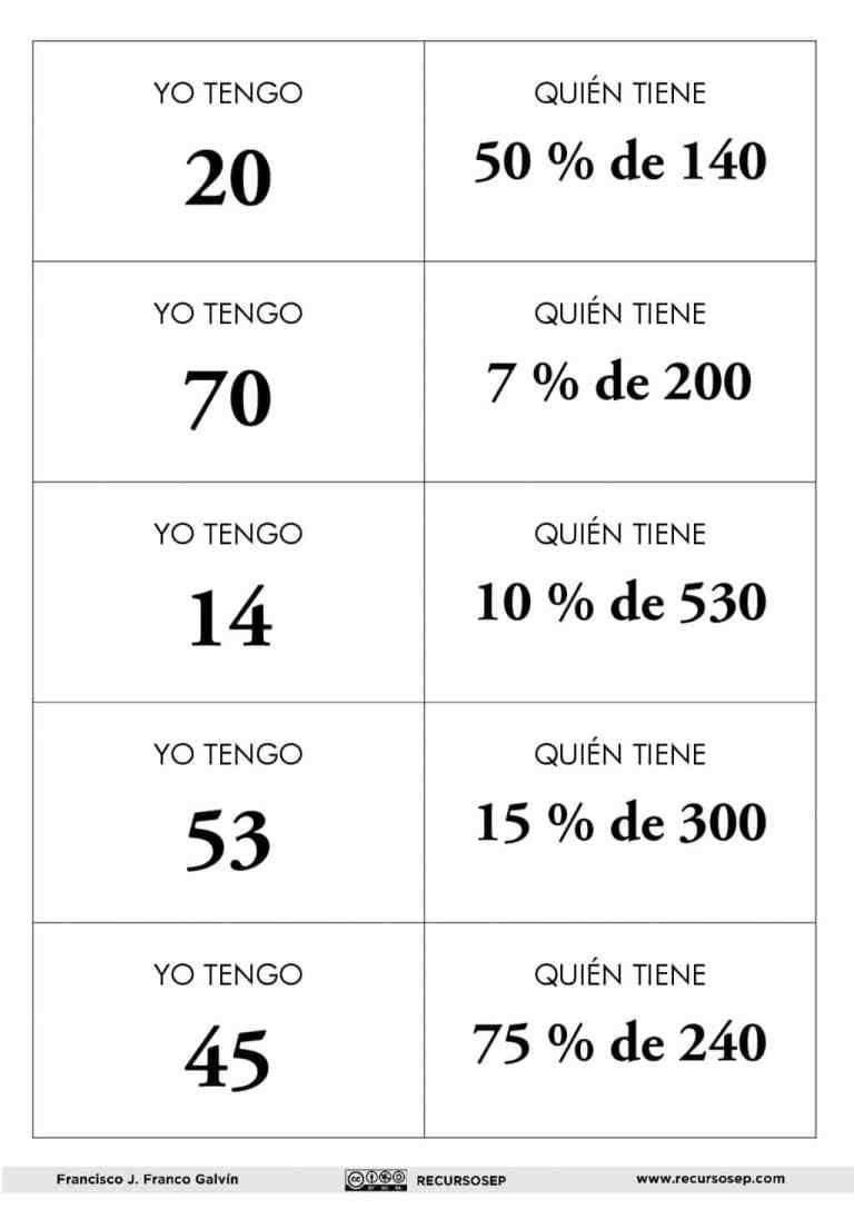 JUEGO DE CÁLCULO MENTAL DE PORCENTAJES | Porcentajes matematicas, Ejercicios  de calculo, Calculo mental