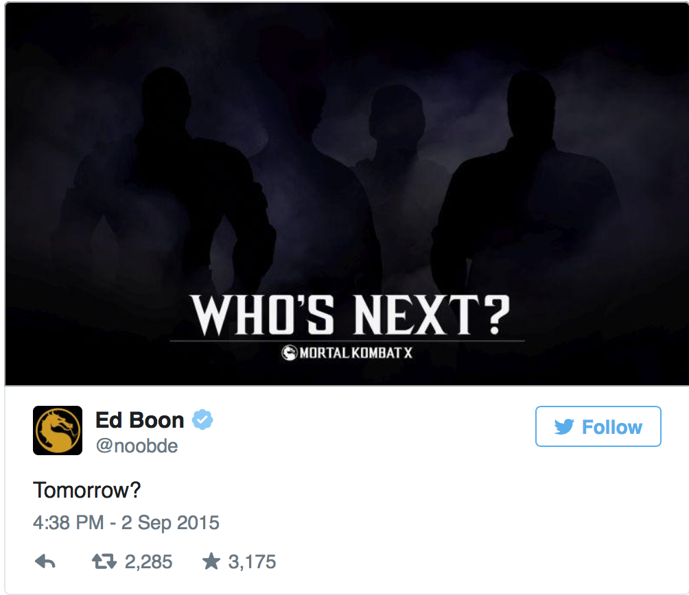 Ed Boon has taken to Twitter to tease the possible arrival of four new Mortal Kombat