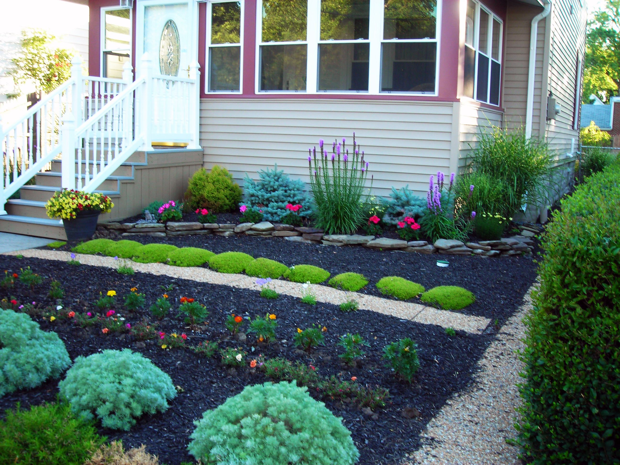 No lawn front yards for Garden design ideas without grass