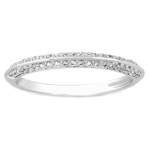 Right Hand Stackable Round Diamond Pavé Set Knife Edge Las Wedding Ring Tcw