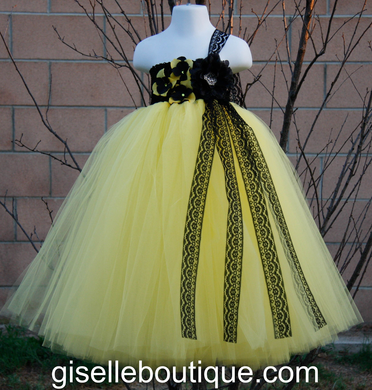 baby dresses for wedding tutu flower girl dresses for weddings Flower girl dress Yellow with Black Lace Tutu
