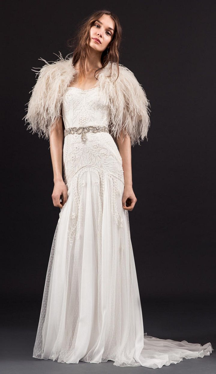 ivory feathered sleeved wedding dress with silver belt - Temperley spring 2017 wedding dresses | fabmood.com #bride #weddinggown #weddingdresses #weddingdress